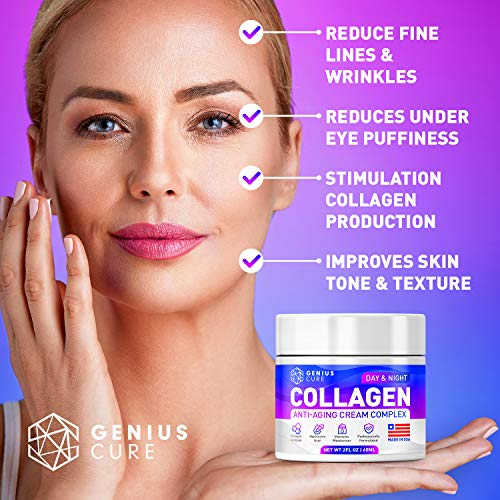 51YgA4c4U9L - GENIUS Collagen Cream - Smart Anti Aging Face Moisturizer - Day & Night Wrinkle Cream - Hyaluronic Acid & Vitamin E - Cleanse, Moisturize, and Protect Your Skin 2oz