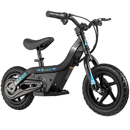 Albott Electric Balance Bike 24V 100W Kids Mini Off-Road Bike Freestyle Ride-on Dirt Bike for Age 3-9, 12' Air-Filled Tires, 60 Min Continuous Ride Time, Hand-Operated Rear Brake, Twist Grip Throttle
