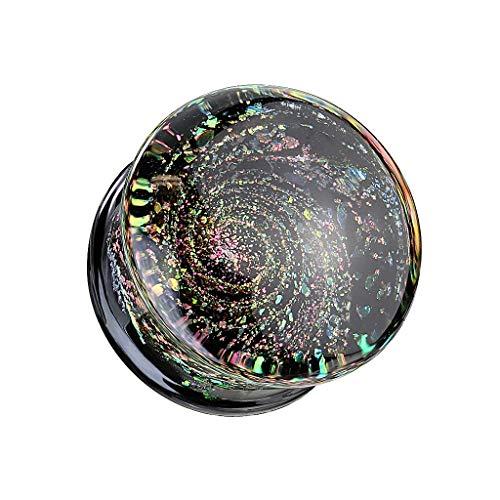 beyoutifulthings Ohr-Plug Funkelnde Galaxie Ohr-Piercing Ohr-Schmuck Glas Tunnel Double Flare Sattel-Verschluss Schwarz Bunt 16mm
