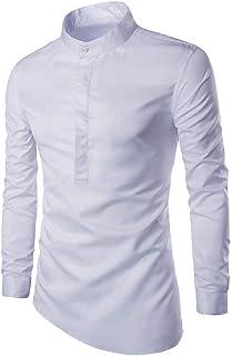 HX fashion Camisa De Cuello Alto Camisa Para Hombre De Color Tamaños Cómodos Sólido Informal De Manga Larga Con Cuello Red...