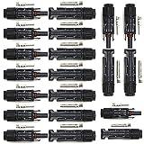 PowMr 20PCS Solar Connectors - Male & Female IP67 Waterproof Connector (10 Pairs, Solar connectors)