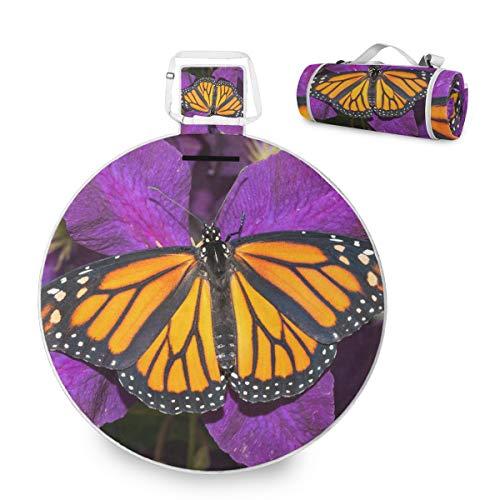 Hermosa mariposa monarca flor púrpura profunda grande picnic al aire libre manta impermeable práctica picnic Mat para la familia Camping Beach Park, redondo 59 pulgadas