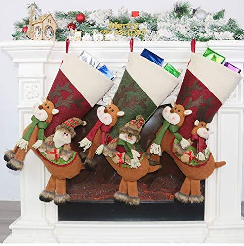 Yuzhijie Decoración de Navidad Santa Claus colgante calcetín de Navidad bolsa de regalo de Navidad decoración de Navidad bolsa de dulces