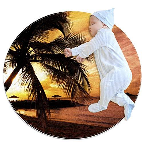 LKJDF Alfombra de juego, alfombra de gatear con aire acondicionado, dormitorio infantil para niños, árbol de coco bajo la puesta del sol