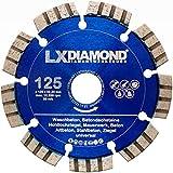 LXDIAMOND Disco de corte de diamante 125 mm x 22,23 mm, disco de diamante para hormigón, hormigón armado, 125 mm, apto para amoladora angular, fresadora ranurada, en calidad premium