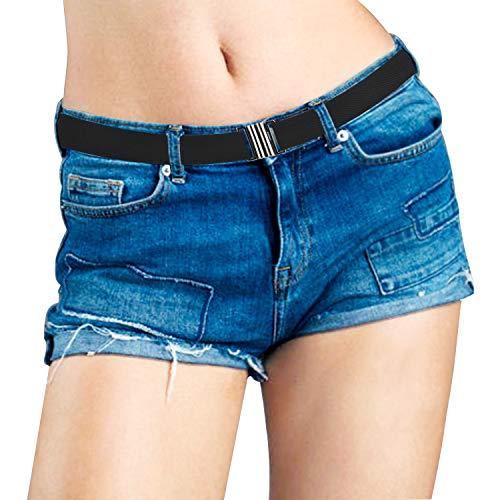 Elastischer Taillengürtel für Damen, unsichtbarer Stretch-Gürtel mit flacher Schnalle, unsichtbar, weiches Gurtband, rutschfest Gr. Suit UK Size:2-14, 2 Schwarz