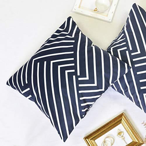 Offtopic Juego de 2 fundas de cojín para sofá, 45 x 45 cm, de terciopelo suave, cojines decorativos elegantes con diseño italiano y moderno, cojines blancos y negros de estilo escandinavo, color negro