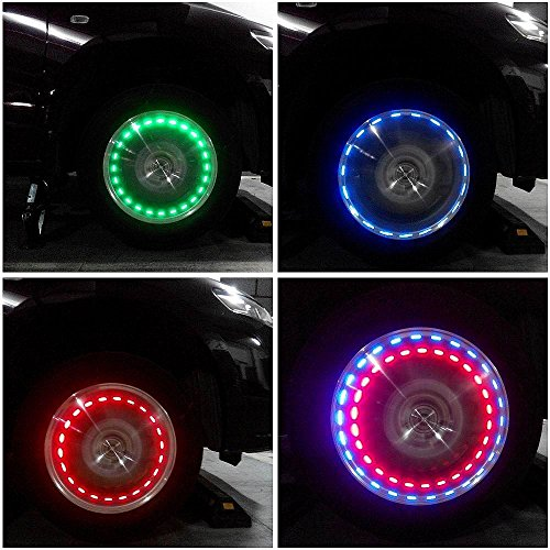 Aumo-mate 1pcs solar Potencia coche/bicicleta/motocicleta Colorful Amazing LED flash rueda neumático lámpara decorar luz tapa con sensores de movimiento aspecto impresionante st-e120