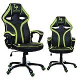 Giosedio GPR Racing Silla para ordenador , altura ajustable, cuero sintético, malla transpirable. Silla de Escritorio para Gamers. (verde)