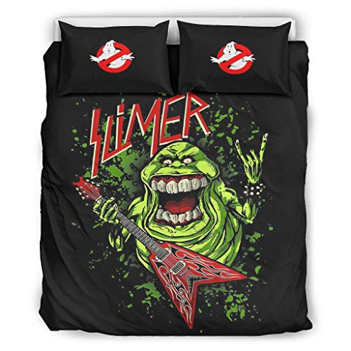 NiTIAN Ghostbusters Slimer Chic Design Bed Set Duvet Cover Set All Seasons Light Soft Single Bed Bedding Sets for Boys Girls 100% Polyester with Zip, Polyester, White, 229x229cm