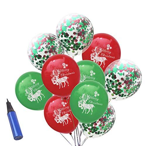 FLAMEER 10 Unids Confeti Globo de Navidad Decoración Accesorio Manualidad Vehículo Reparar Bricolaje - Rojo Verde