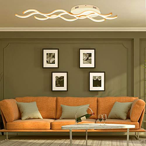 Froadp 30W Wellenförmige LED Hängelampe Acryl Welligkeit Kurve Pendelleuchte Wellenform Deckenleuchte Kronleuchter Lüster für Esszimmer Wohnzimmer(Warmweiß, ohne Fernsteuerung)