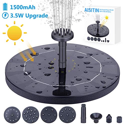 AISITIN 3.5W Solar Fountain Pump, Solar Water Pump Floating Fountain Built-in 1500mAh Battery, with 6 Nozzles, for Bird Bath, Fish Tank, Pond or Garden Decoration Solar Aerator Pump