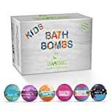 Sky Organics Kids Bath Bombs Gift Set with Surprise Toys Inside Fun Assorted Colored XL Bath Fi…