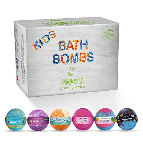Sky Organics Kids Bath Bombs Gift Set with Surprise Toys Inside Fun Assorted Colored XL Bath Fizzies, Kid Safe Gender Neutral with Natural Essential Oils Handmade in The USA Bubble Bath Fizzy, 6ct