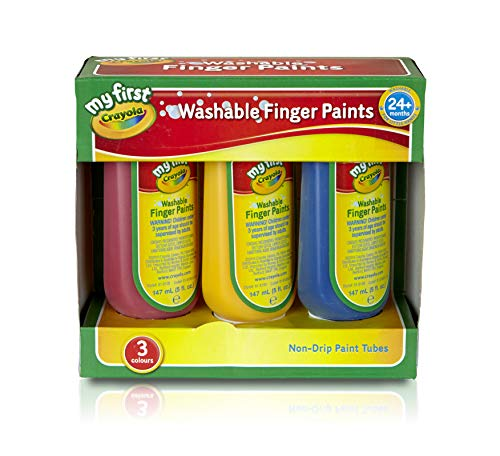 My First Crayola/Mini Kids Washable Finger Paint, Pack of 3, multicoloured, 81-8108
