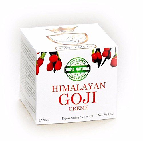 MyGlamy vegane GOJI-BEEREN Hyaluronsäure Creme hochdosiert Himalayan Bio Gesichtscreme VEGAN im Glastiegel 50 ml Anti Age 100% NATUR ohne Konservierungsstoffe, Parfüm, Alkohol