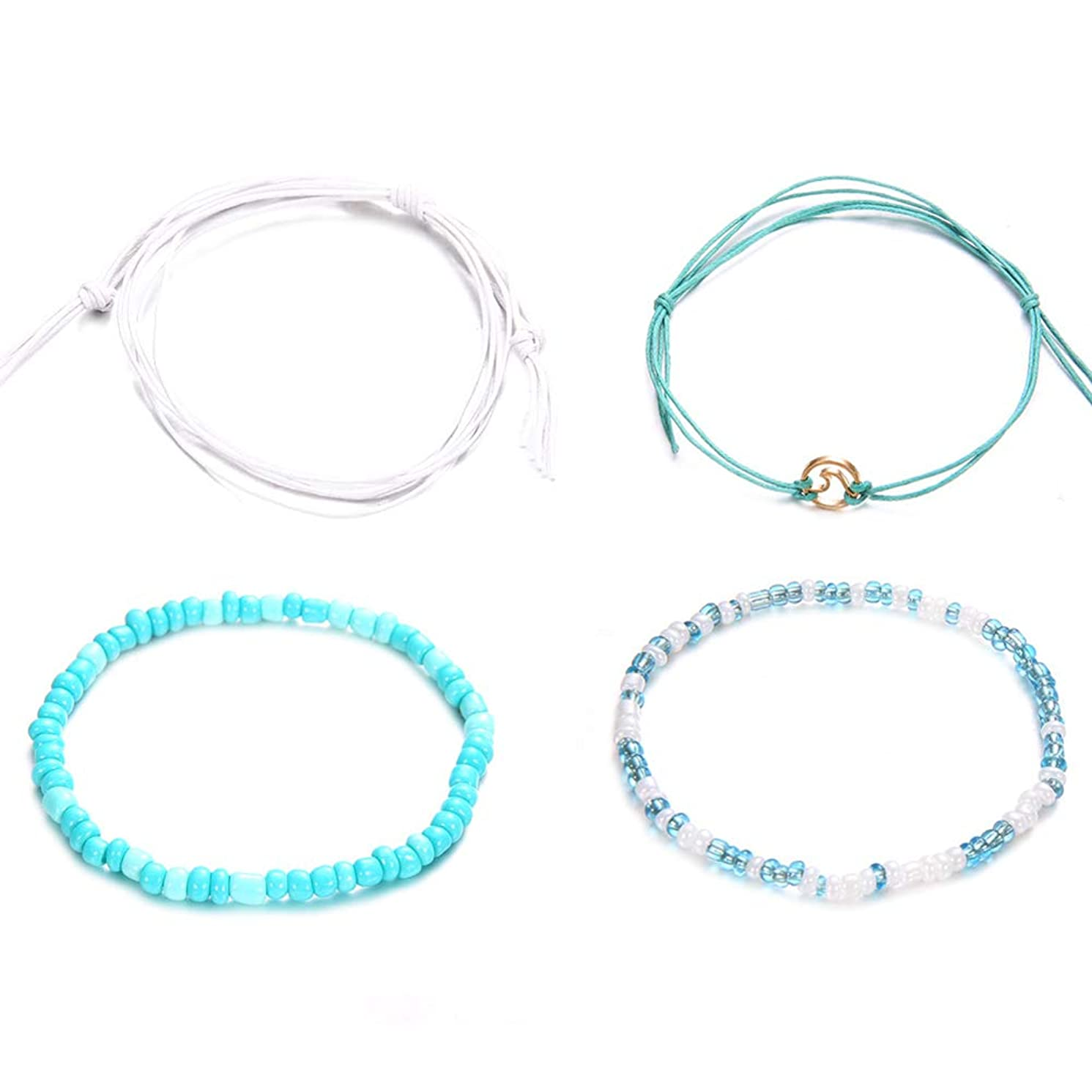 Anklets for Women,4Pcs Women Jewelry Decor Multi Layers Braid Rope Beach Foot Anklet Bracelet