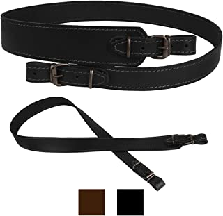 BRONZEDOG Genuine Leather Strap Stitched Hunting Accessories Adjustable Belt Durable Rifle Sling