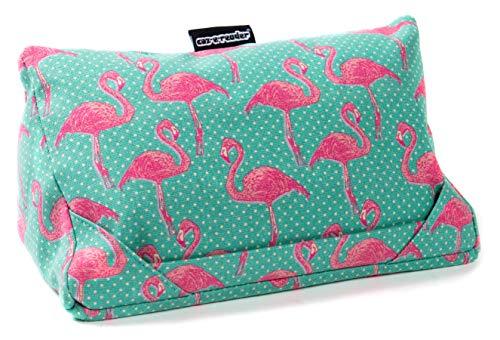 Cojín i-Pad y Almohada para Tablet en Flamingo Print de coz-e-reader con 2 Posiciones para visualización a Pantalla Completa