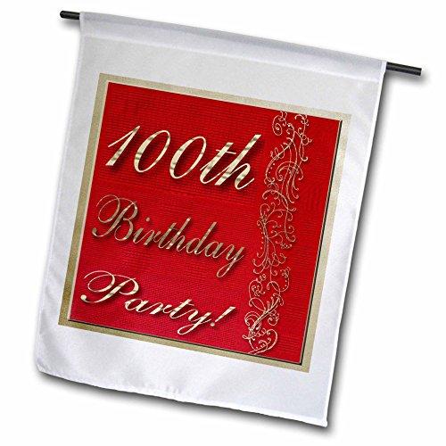 "3dRose fl_31003_1 Garden Flag - 100th Birthday Party Red Design, 12 x 18"""