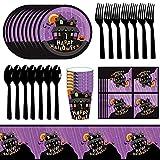 61 Piezas Halloween Fiesta Vajilla, Hilloly Juego de Vajilla Halloween, Fiesta de Halloween de Incluye Platos de Papel Cuchillos Tazas Servilletas Y Pancartas Decoraciones de Vajilla de Halloween