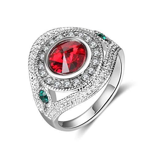 EzzySo Anillo de Piedras Preciosas Redondas con Diamantes, Americana, Exquisito y Elegante Anillo de aleación de Temperamento joyería (2 Piezas),Rojo,10