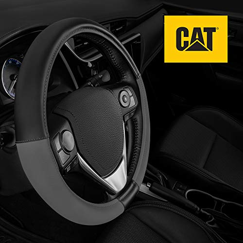 Caterpillar Two Tone Ergonomic Soft Leather Grip Steering Wheel Cover – Strong, Durable and Comfortable Universal Size 14.5-15.5 Inch (Dark Gray/Black) (CASW-2221-CC)