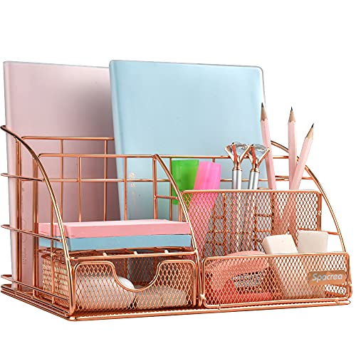 Spacrea Desk Organizers and Accessories, Large, All in One Desk Organizer Pencil Holder with Drawer, Desktop Organizer with More Space for Office Supplies and Desk (Rose Gold)