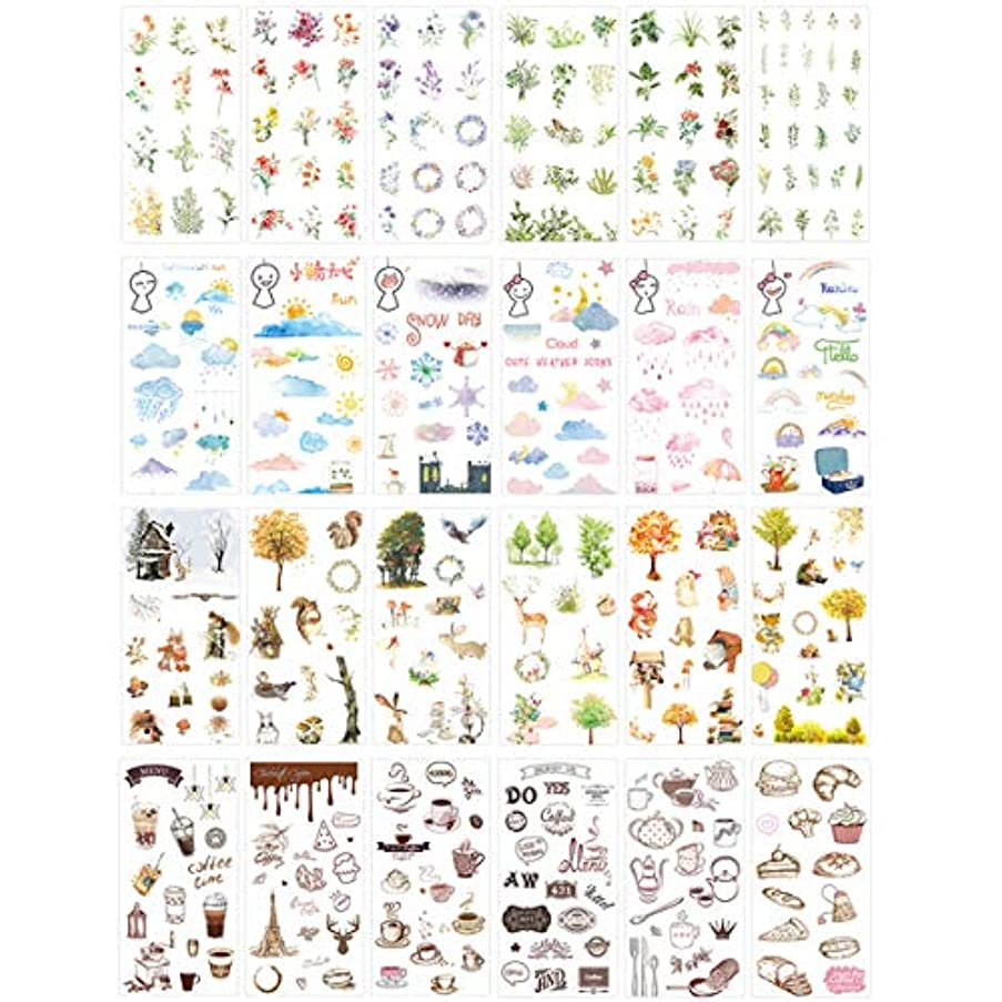 Assorted Stationery Sticker Set Floral Green Plant Weather Sunny Cloud Rainy Rainbow Animal Tree Drink Coffee Food Sticker for Scrapbooking DIY Craft Album Diary