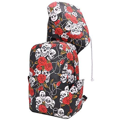 HEIMIAOMIAO Damentasche Marke SchädelMuster mit Kapuze Rucksack Rose Printing Men Laptop Daypack College Bookbags, schwarz