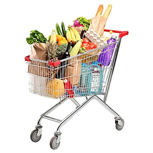 shopping cart Carro de Compras Robusto, Carro de Centro Comercial con camión, Puede Sentarse en Carro, Centro Comercial para Tirar mercancías, plástico galvanizado y rociado, antioxidante
