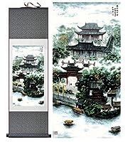 風景画ホームオフィス装飾中国のスクロール絵画風景画風景画風景画-100cmx30cm_Green_package