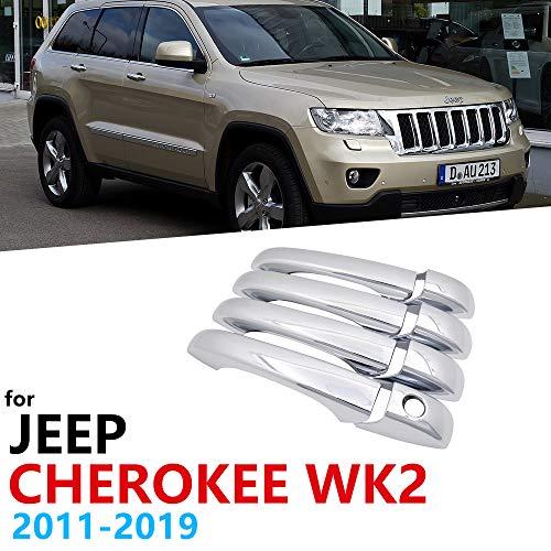 HZHAOWEI Chrom-Außengriffabdeckung, für Jeep Grand Cherokee WK2 2011~2019 Autozubehör Aufkleber Verkleidungsset für 4 Türen 2012