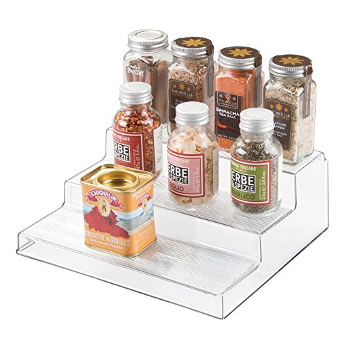 iDesign Linus Linus Plastic 3Tier Spice Rack Stadium Organizer Rack for Kitchen Pantry Cabinet Countertops Bathroom Desk Clear