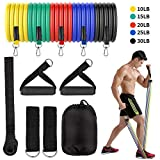 Fenvella 11 PCS Resistance Bands Set, 5 Color Exercise Bands (10lb, 15lb, 20lb, 25lb, 30lb) with Handles, Ankle Straps, Door Anchor, for Resistance Training, Physical Therapy, Home Workouts, Yoga