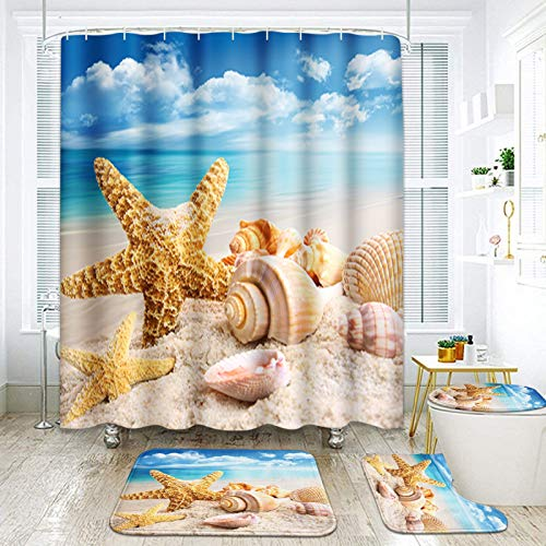 ArtSocket 4 Pcs Shower Curtain Set Starfish Seashells Beach Blue Sky Ocean Vacation with Non-Slip Rugs Toilet Lid Cover and Bath Mat Bathroom Decor Set 72' x 72'