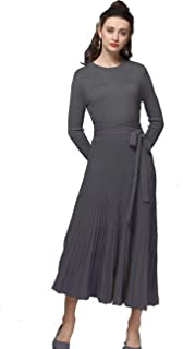 Long Sweater Dress Autumn Winter Cashmere Belt Fitted Waist Big Swing Flared Calf Length Maxi Dresses