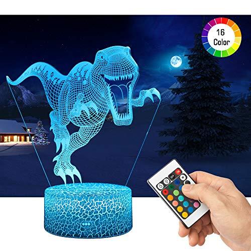 QiLiTd 3D Dinosaurier Lampe LED Nachtlicht mit Fernbedienung, 16 Farben Wählbar Dimmbare Touch Schalter Nachtlampe Geburtstag Geschenk, Frohe Weihnachten Geschenke Für Mädchen Männer Frauen Kinder