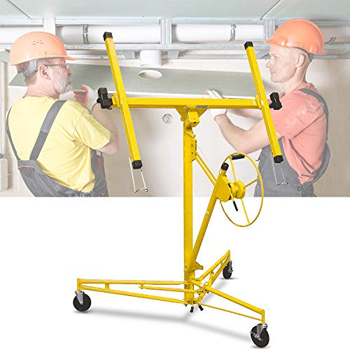 Drywall Lift 11FT Heavy Duty Drywall Panel Hoist Professional Jack Lifter Sturdy Rolling Lockable Caster Wheels Lifter Construction Tool, 150LB Capacity, Yellow