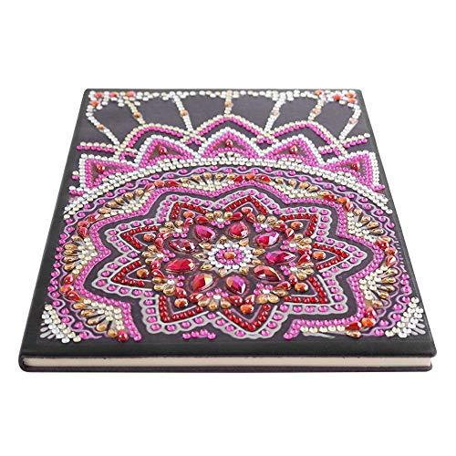 Mandala DIY Diamante Libro de imágenes Cuaderno de bocetos portátil 50 páginas A5 Bloc de notas Libro creativo Diamante de imitación Diario Diario Espiral Regalo del día de la madre