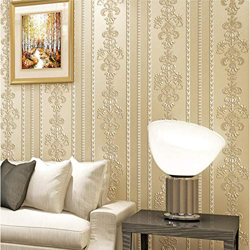 Vliestapete Stripes Tapete Vliestapete 3D klassisch barock Stereo Damascus Stripe Beige Wand Dekoration für Wohnzimmer Schlafzimmer Fernseher Hintergrund - Gelb
