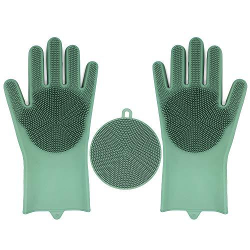 Geschirrspül Handschuhe, 35.7CM Silikon Reinigen Handschuhe Wiederverwendbare Spülhandschuhe Geschirrspülhandschuhe für die Haushalt, Küche, Auto, Obst, Bad, Haustierpflege (Grün)
