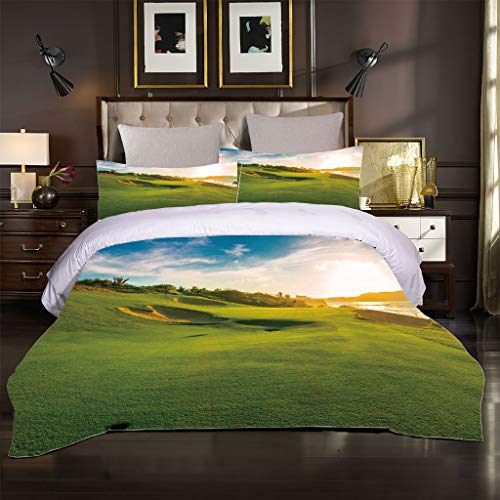 OJYUXD Bedding Set Single Size 135X200Cm 3 Pieces Brushed Microfiber Green Golf Course Duvet Cover With 2 Pillowcases Soft Quilt Covers Double Fade Resistant Room Bedding Quilt Set