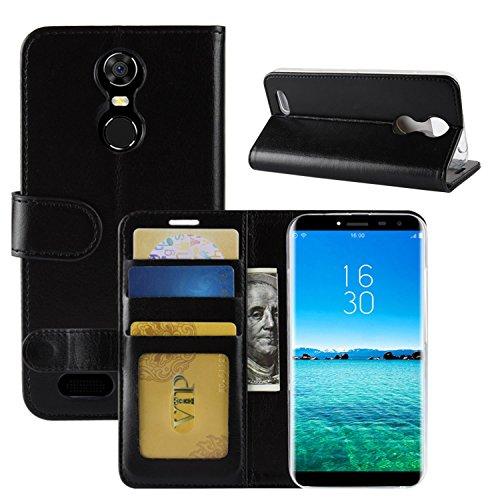 HualuBro Oukitel C8 Hülle, Retro PU Leder Leather Wallet HandyHülle Tasche Schutzhülle Flip Hülle Cover mit Karten Slot für Oukitel C8 Smartphone - Schwarz