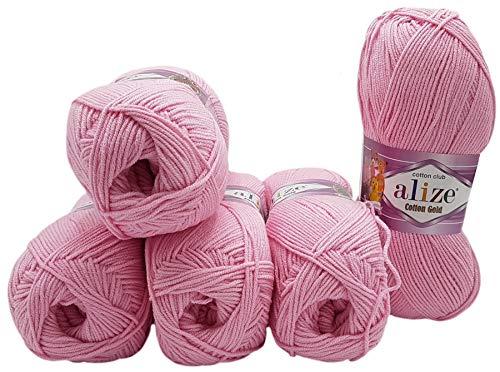 5 ovillos de 100 g de lana para tejer Alize Cotton Gold...