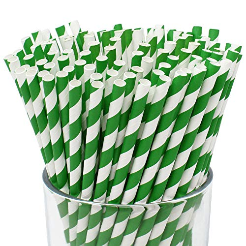 Just Artifacts Premium Biodegradable Disposable Drinking Striped Paper Straws (100pcs, Forest Green)