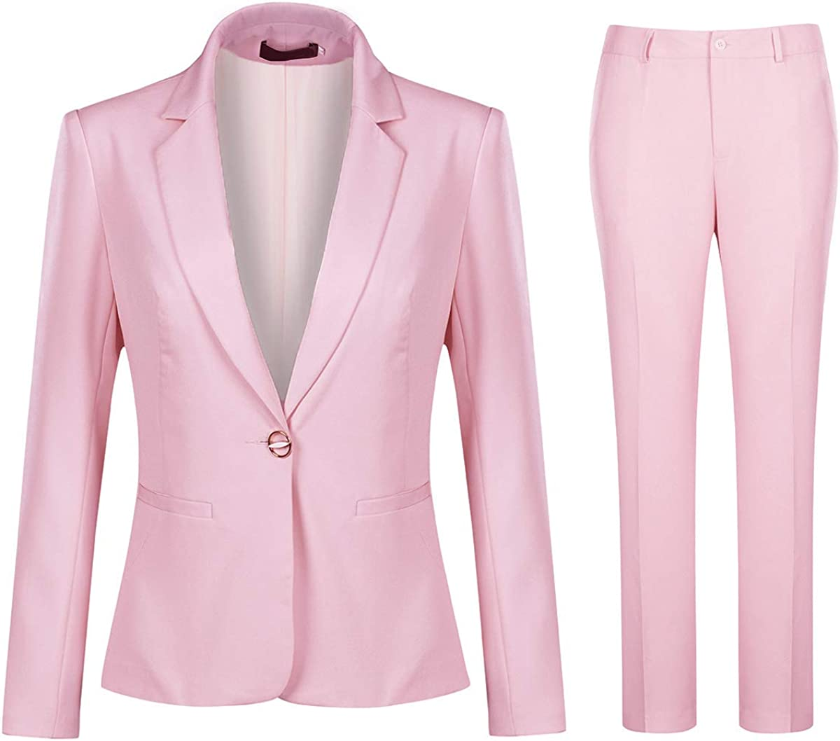 Women's 2 Piece Office Work Suit Set One Button Blazer and Pants