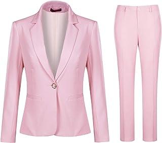 Women's 2 Piece Office Work Suit Set One Button Blazer...