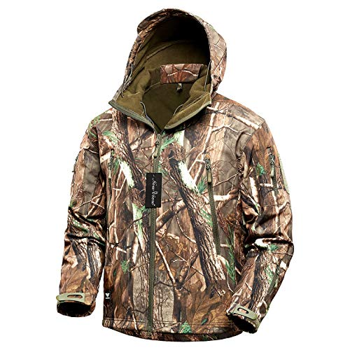 NEW VIEW Hunting Clothes for Men,2020 Upgrade Thickened Silent Water Resistant Hunting Jackets,Camo Hooded Jacket (Thick, L)